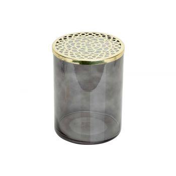 Cosy @ Home Vaas Metal Lid Grijs 15x15xh20cm Cilindr