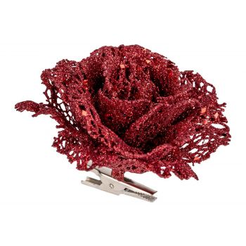 Cosy @ Home Roos Clip Glitter Rood 10x10xh8cm Kunsts