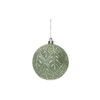 Cosy @ Home Kerstbal Silver Leaves Mint D10cm Kunsts