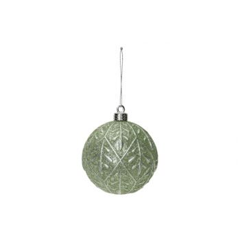 Cosy @ Home Kerstbal Silver Leaves Mint D8cm Kunstst