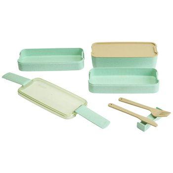 Cosy & Trendy Eco-fibre 3laags Lunchbox Groen Vork