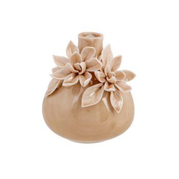 Cosy @ Home Vaas Flowers Roze 9x9xh10cm Keramiek