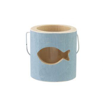 Cosy @ Home Theelichthouder Fish Blauw 10x10xh10cm H