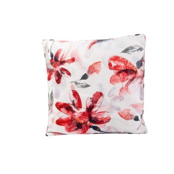 Cosy @ Home Kussen Pink Flowers Wit 45x45xh10cm Poly