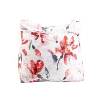 Cosy @ Home Poef Pink Flowers Wit 55x55xh38cm Polyes