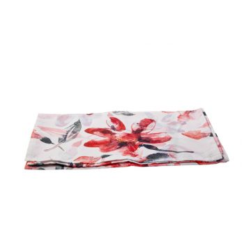 Cosy @ Home Tafelloper Pink Flowers Wit 40x140cm Pol