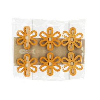 Cosy @ Home Knijper Set6 Flower Oranje 6x,5xh6cm Hou