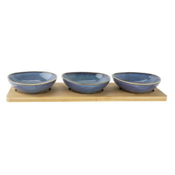 Cosy & Trendy Serveerplank 31x11xh4cm Bamboe + 3 Bowls