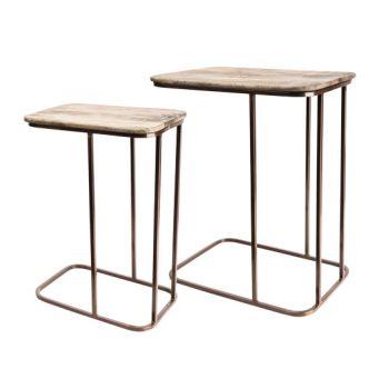 Cosy & Trendy Wood-copper Bijzettafel Set2 49x34x60cm