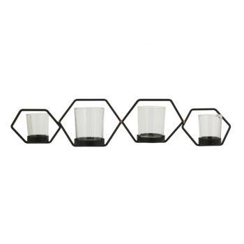 Cosy @ Home Theelichthouder Hexagon 4p Zwart 53,5x14