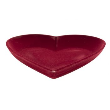 Cosy @ Home Hart Flocked Rood 25x25xh3,8cm Hout