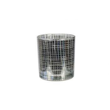 Cosy & Trendy Theelichthouder Zilverkleur 7,5x8cm Glas