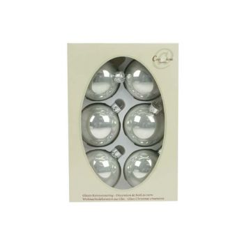 Cosy @ Home Kerstbal Set6 Pearl Zilverwit 7cm Glas
