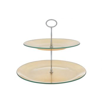 Cosy & Trendy Etagere D25-31xh25cm Glas,gold 2 Niveaus