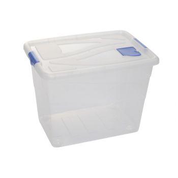 Hega Hogar Textielbox Box Op Wielen Transparant 80l