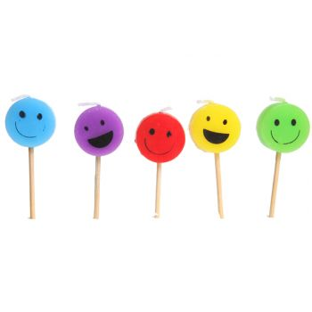Cosy & Trendy For Kids Mini-kaars Smiley Face H7cm Set5
