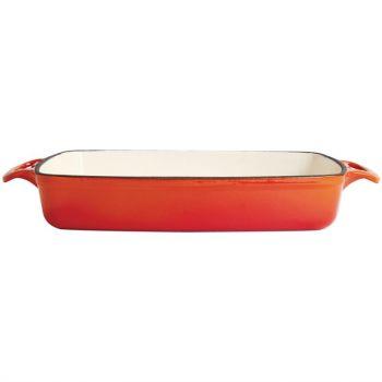 Vogue rechthoekige gietijzeren ovenschaal oranje 2.8L