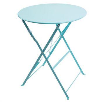 Bolero ronde stalen opklapbare tafel turquoise 59.5cm