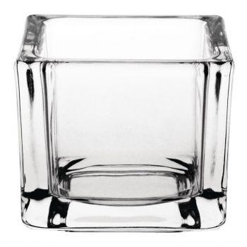 Olympia glazen theelichthouders vierkant transparant