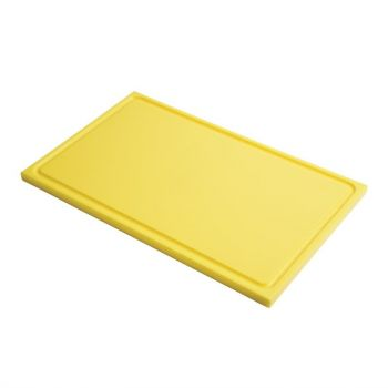 Gastro M GN1/2 HDPE snijplank met sapgeul geel