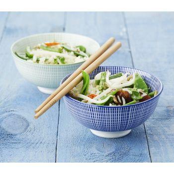 2 Rijstkommetjes blauw & groen met chopsticks