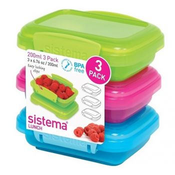 Sistema Lunch 3-Delige Set Gekleurd 200ml