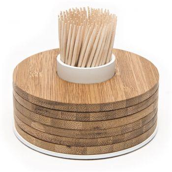 Point-Virgule bamboe glasonderzetters 6 stuks op tandenstokerhouder wit