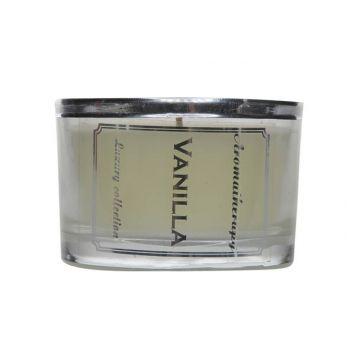 Kaars aroma vanille ivoor d5.7-h8.5cm in glas