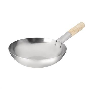 Vogue zacht stalen wok met platte bodem 25.5cm